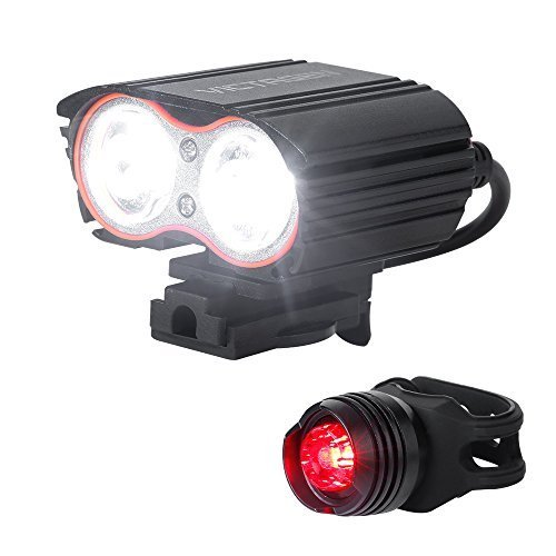 Cycling Headlight - Victagen Bike Front Light &Tail Light,Super Bright 2400 Lumens, Bicycle Headlight USB Rechargeable,Waterproof LED Front & Rear Light, Easy to Mount Fits Outdoor Sports for Mountain Road Kids Cycling