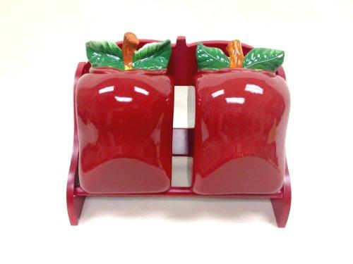"UPC 639036874851, Tuscany 3-D Apple Ceramic 2-Pcs Candy Jar and Rack 11""L 87485 58PVV by ACK"