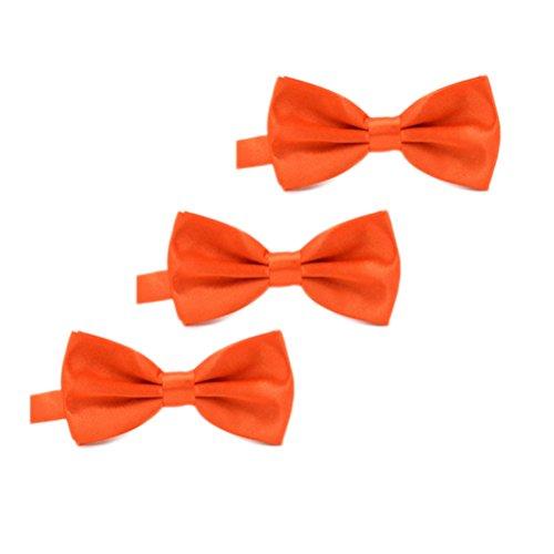 Orange Bowties (IvyFlair 3-Pack Pre Tied Adjustable Satin Formal Bowties Bow Tie, Orange)