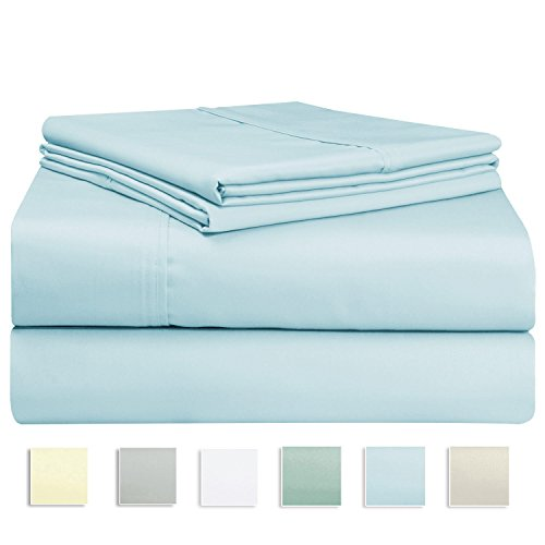 400 Thread Count Sheet Set, 100% Long-staple Cotton Light Blue Full Sheets, Sateen Weave Bedsheets, Stylish 4-inch hem, upto 17 inch Deep Pocket by Pizuna Linens (100% Cotton Sheet Set LightBlue Full) (300tc Sheets Full Sheet Set)