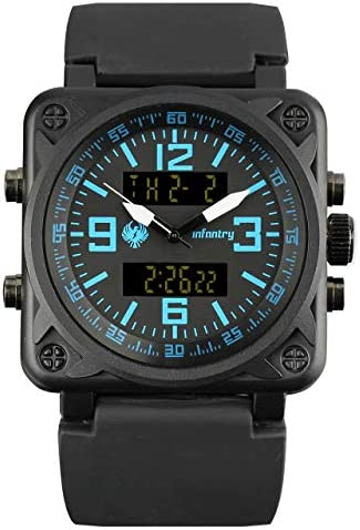 Herren Uhren Männer Armbanduhr Digital Militär Uhr Outdoor Herrenuhr Schwarz Tactical Watch Gummi Armband By Infantry Uhren