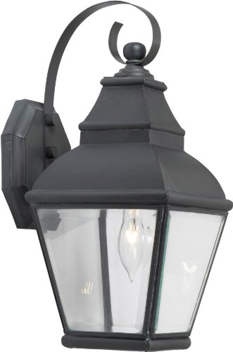Elk 5214-C 7 by 15-Inch Bristol 1-Light Outdoor Wall Sconce with Clear Beveled Glass Shade, Charcoal Finish