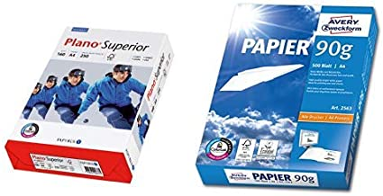 ungestrichen A4 250 Blatt wei/ß /& AVERY Zweckform 2563 Drucker-// Kopierpapier wei/ß matt DIN A4, 90 g//m/², 500 Blatt, alle Drucker Papyrus 88026787 Druckerpapier PlanoSuperior 160 g//m/²