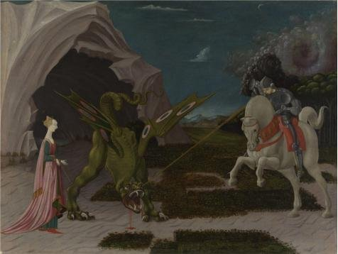 Oil Painting 'Paolo Uccello-Saint George And The Dragon,about 1470' Printing On High Quality Polyster Canvas , 18x24 Inch / 46x61 Cm ,the Best Dining Room Artwork And Home Decor And Gifts Is This Imitations Art DecorativePrints On Canvas