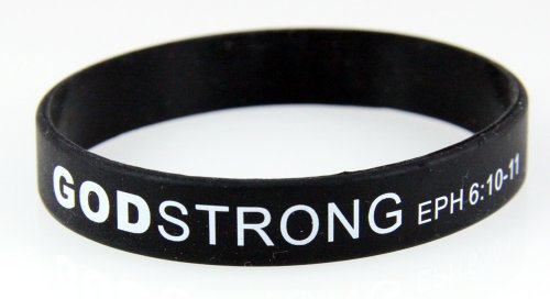 Livestrong Rubber Bracelets (8030005 3 Pieces Black with White Adult Imprinted Godstrong Silicone Band Eph. Ephesians 6:10-11)