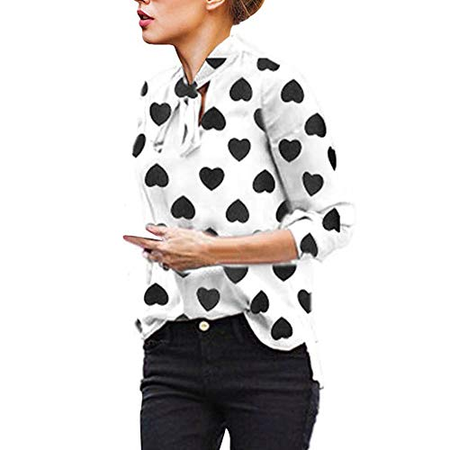 Gyoume Office Shirts Women Heart Print Blouse Ladies Business Tops Shirts Long Sleeve Bow Tie Tops White (Heart Print Blouse)