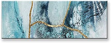 ZHUDJ Home Decor Quality High 100% Handmade Abstract Oil Painting On Canvas Cover with Gold Foil for Living Room Unframed 90cmx150cm No Framed