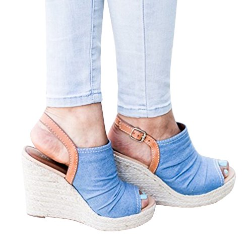 Denim Wedge Sandal - Women's Espadrille Wedge Sandals Platform Ankle Strap Buckle Open Toe Summer Shoes