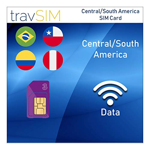 travSIM Three UK Prepaid Central/South America SIM Card 12GB Data, 3000 Minutes & 3000 Text Messages Valid for 30 Days - Free Roaming in 71+ Destination Countries Including Europe