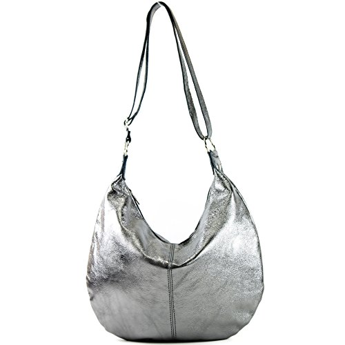 Sac cuir sac en femme véritable italien main bandoulière sac metallic cabas à Anthrazit à T02 4BrqwH4