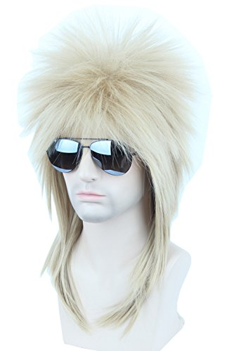 Topcosplay Adult 70s 80s Halloween Costumes Wig Rocking Dude Wig Punk Metal Rocker Disco Mullet Wig (Blonde) -