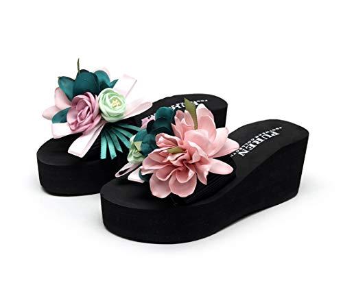 Eric Carl Flower Anti-Slip Wedge Sandals Ladies Summer Beach Flip-Flops Indoor Outdoor Thong Platform Slippers Fashion Slippers