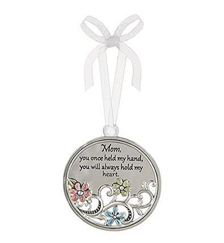 (Mom You Once Held My Hand You Will Always Hold My Heart Circular Metal Car Charm - By Ganz)