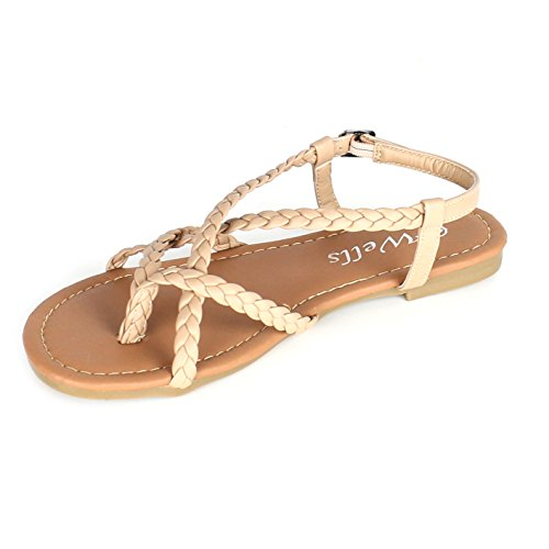 Women's Braided Strappy Gladiator Flat Sandal Y-Strap Thong Flip Flop Crossing Over Flat Sandals