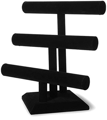Black Velvet T-bar Bracelet - T'z Tagz Brand 3 Tier Black Velvet T-bar Bracelet & Necklace Jewelry Display Stands