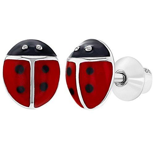 925 Sterling Silver Red Enamel Ladybug Earrings Screw Back Earrings Girls