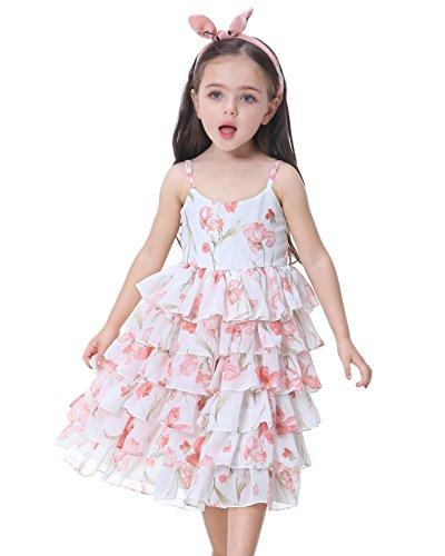 Flofallzique Flowers Multi Layers Chiffon Dress Princess Parties for 1-8 Years Old Little Girls (6, Pink) (Chiffon Multi Dress)