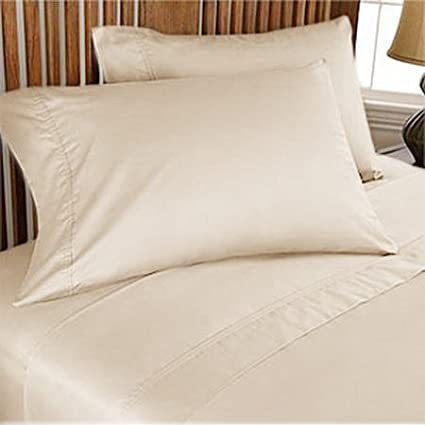 500 TC ULTRA SOFT SILKY 100% EGYPTIAN COTTON 4 PIECE LUXURIOUS SHEET SET FULL IVORY SOLID BY PEARLBEDDING