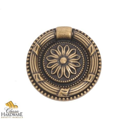 Antique Brass Drop Pull (Bosetti Marella 100205.09 Louis XVI Brass Drop Pull, 1.85-Inch Diameter, Antique Brass Dark)