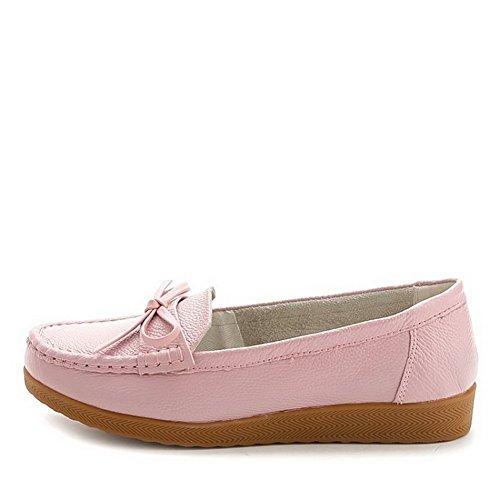 VogueZone009 Damen Rund Zehe Ziehen auf Blend-Materialien Rein Niedriger Absatz Pumps Schuhe Pink
