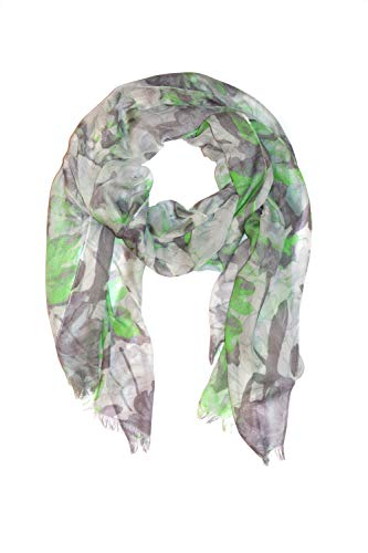 (Amicale Designer Silk Blend Citrus Green Abstract Floral Print Scarf with Fringe, 78 x 27 inches)