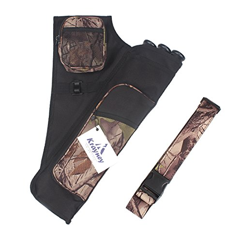 Krayney 3-Tubes Hip Quiver Waist Hanged Camouflage Arrow Archery Carry Bag with Pockets Adjustable Belt