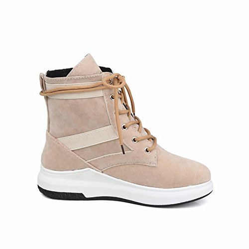 Latasa Womens Lace-up Flat Ankle Boots Apricot ZK7mTAd