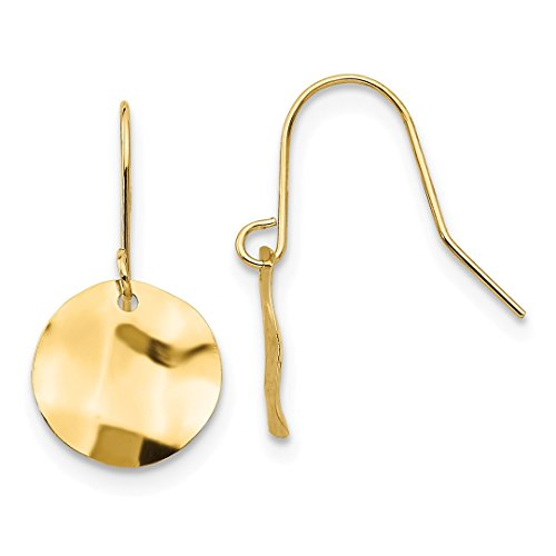 - 14k Yellow Gold Circle Hammered Drop Dangle Chandelier Earrings Fine Jewelry For Women Gift Set