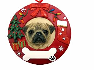 E&S Pets Pug Personalized Christmas Ornament