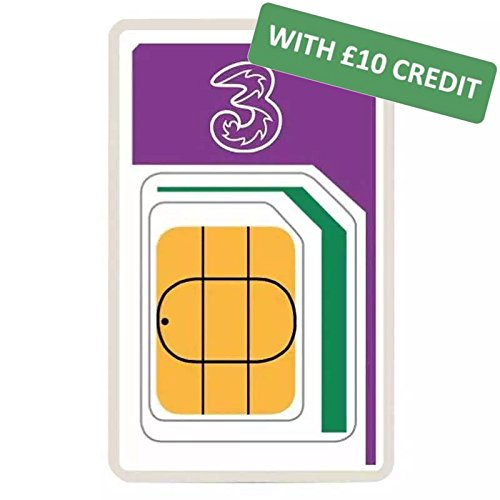 Three Mobile International Pay As You Go SIM with £10 Pre-loaded Credit