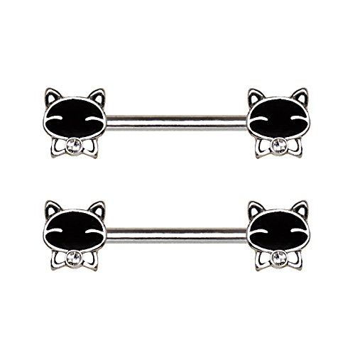 Black Kitten with Jeweled Bow Tie Nipple Barbells in 316L Stainless Steel - Sold as a Pair