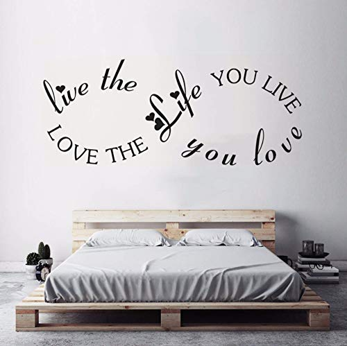 Dalxsh Love The Life Quote Wall Decal Romantic Home Bedroom Decoration Infinity Design Vinyl Wall Poster Nursery Wall Art Mural 57x23cm]()