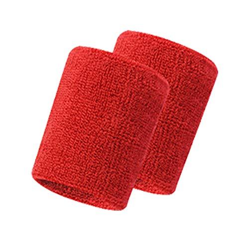 Wristband Clearance, 2Pcs Unisex Basketball Sports Wrist Band Cotton Sweat Band Sweatband Wristband (Red)]()