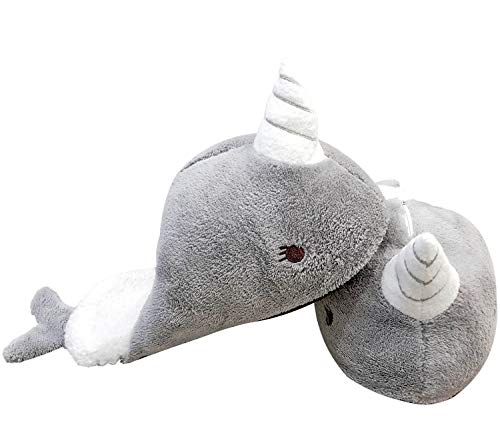 Narwhal Unicorn Slippers for Women and Girls with Light Up LED Horn (Whale Slippers)