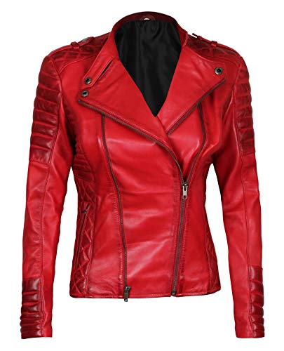 Decrum Red Leather Biker Jacket Women Jannie, L| [1300404]