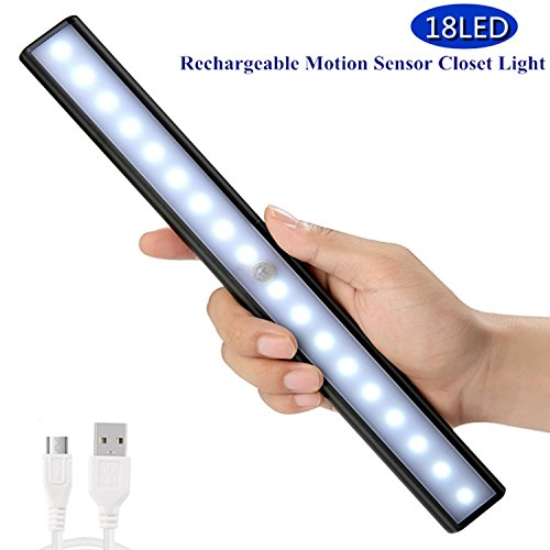 Interior Aluminum Body (Motion Sensor Activated Closet Light Stick-on Anywhere Wireless Portable Under Cabinet Lights Little Tap Lights Step Lights Wall Lamps In Rechargeable Battery Magnetic for Closet,Cabinet 18 LED-Black)