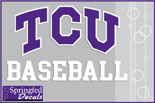 TCU Horned Frogs BASEBALL w/ TCU LOGO Vinyl Decal Texas Christian Car Truck Sticker