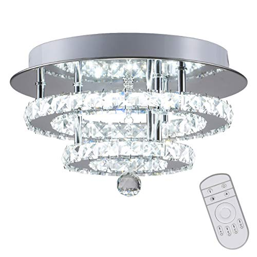 (KAI Crystal Dimmable Temperature Adjustable Ceiling Light Flush Mount Modern Contemporary Luxury LED Chandelier Lamp with 30W 120LM/W 120LEDs Lighting for Dining Room Bedroom Foyer(Chrome Round,1Pack))