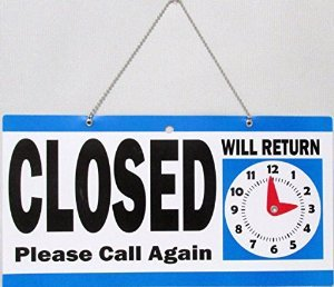 Open Closed Store Sign with Will Return Clock, Blue