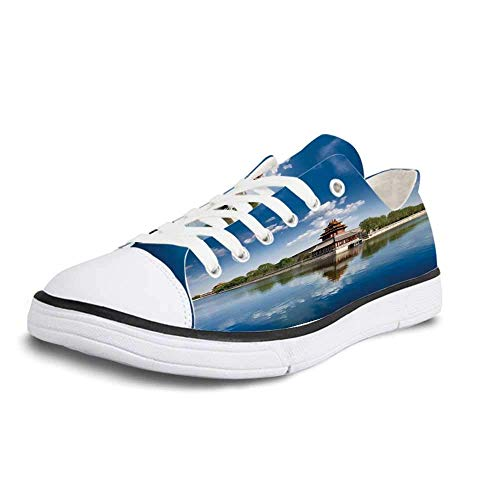 Canvas Sneaker Low Top Shoes,Ancient China Decorations Historical Architecture Imperial Palace Trees Sea Blue Sky Decorative Women 11/Man 8