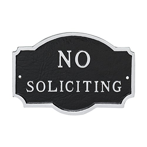 Montague Metal Products Petite Montague No Soliciting Statement Plaque, Black with Silver Letter, 4.5