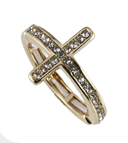 Fashion Religious Cross Ring (6030200 Christian Cross Stretch Ring Religious Bible Verse Jesus)