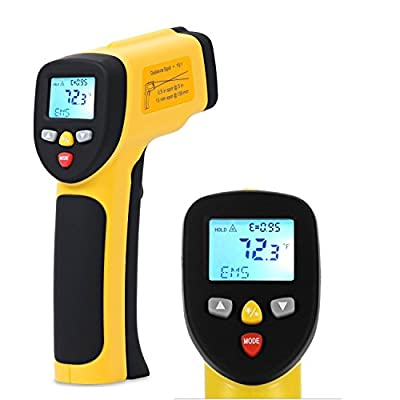 Dr.meter IR-40 Dual Laser Pointer Non-contact Digital Infrared Thermometer -58°F ~ 1202°F (-50°C ~ 650°C), Yellow and Black