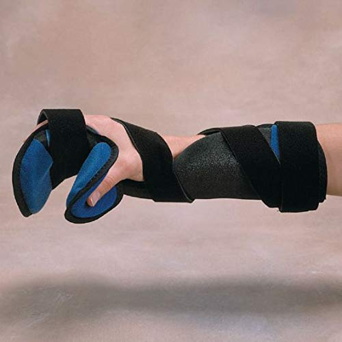 Rolyan Kwik-Form Functional Resting Orthosis Hand Brace with Padded Comfort, Medium/Large, Left, Black/Blue ()
