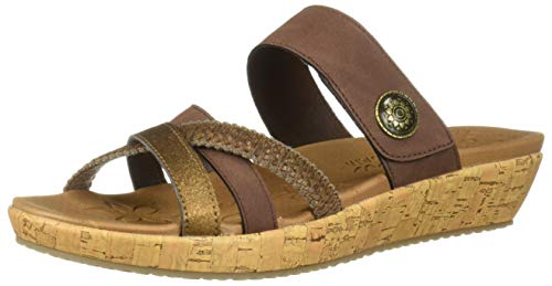 (Skechers Women's Brie-Multi Strap Slide Sandal, Chocolate 8 M US)
