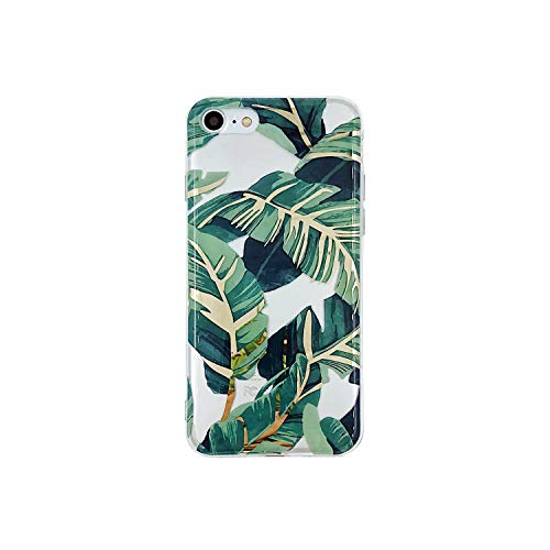 Leaf Phone Cover - HolaStar Tropical Case for iPhone 7/8, Ultra Thin Glossy Green Palm Leaves with Gold Stem Soft Cover