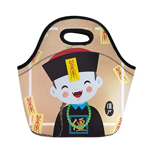 Semtomn Lunch Tote Bag Ghost Cute Chinese Zombie Vampire Cartoon Character Caption China Reusable Neoprene Insulated Thermal Outdoor Picnic Lunchbox for Men Women