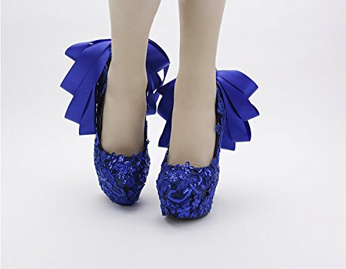 Silk Knot High VIVIOO Women'S Lace Shoes Ribbon Sandals Shoes Table Party Blue Shoe Prom Heel Super Nightclub Water 12Cm Bow Wedding Evening 7 Bridal Sequins xRrRqPwI