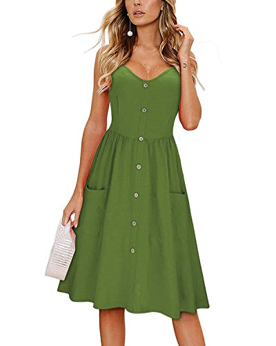 KILIG Women's Summer Sundress Spaghetti Strap Button Down Dress with Pockets (Army, - Dresses Cotton Maternity