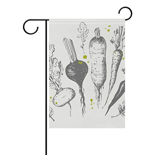 Chic Houses Fresh Style Vegetables Concise Radish Carrot Pattern Outdoor Garden Flags Creative Design Vertical Double Sided Home Decorative House Yard Sign 12 x 18 Inch 2030619